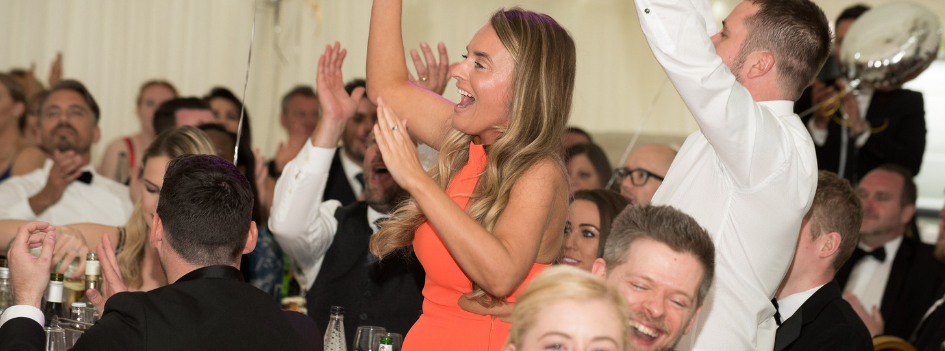 Jenna - Account Manager - celebrating a team win at the annual conference awards